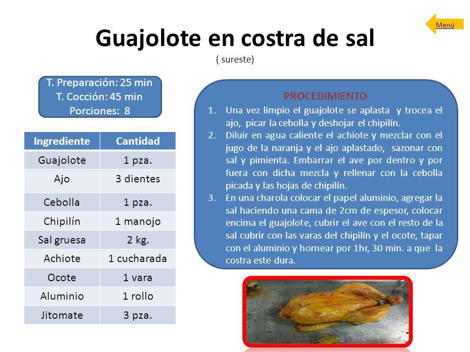 Guajolote en costra de sal ( sureste) T. Preparación: 25 min T. Cocción: 45 min Porciones: 8 PROCEDIMIENTO 1.Una vez limpio el guajolote se aplasta y