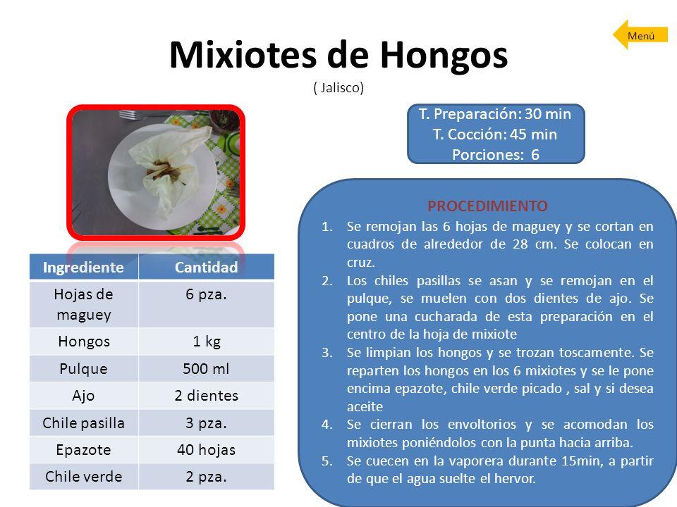 Mixiotes de Hongos ( Jalisco) T. Preparación: 30 min T. Cocción: 45 min Porciones: 6 PROCEDIMIENTO 1.Se remojan las 6 hojas de maguey y se cortan en c