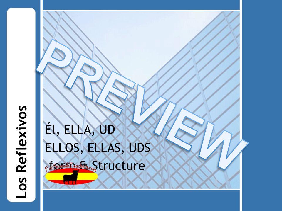 Él, ELLA, UD ELLOS, ELLAS, UDS form & Structure Los Reflexivos