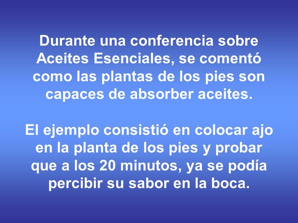 Durante una conferencia sobre Aceites Esenciales, se comentó como las plantas de los pies son capaces de absorber aceites. El ejemplo consistió en col