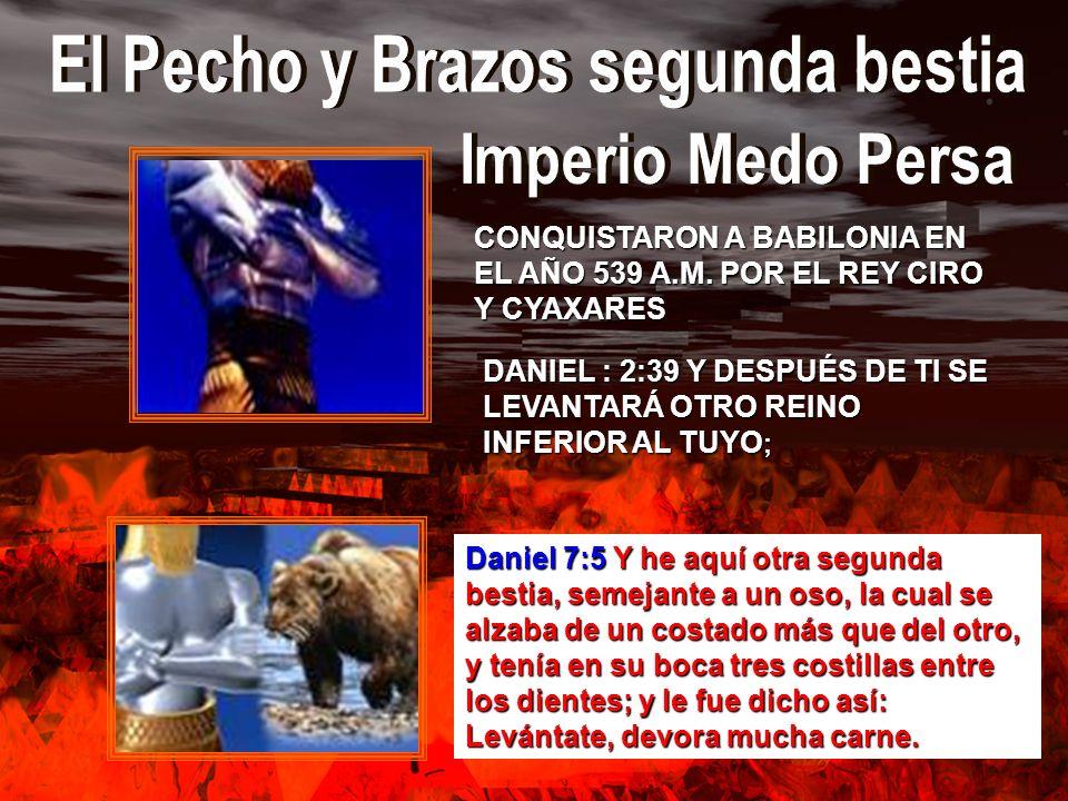 DANIEL : 2:39 Y DESPUÉS DE TI SE LEVANTARÁ OTRO REINO INFERIOR AL TUYO ; Daniel 7:5 Y he aquí otra segunda bestia, semejante a un oso, la cual se alza