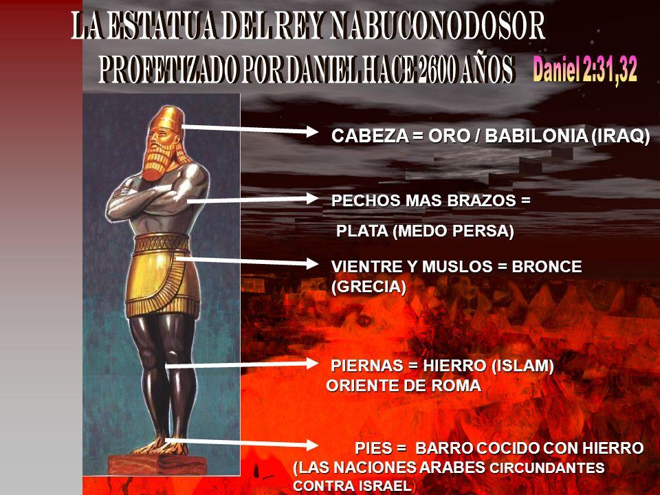 CABEZA = ORO / BABILONIA (IRAQ) PECHOS MAS BRAZOS = PLATA (MEDO PERSA) PLATA (MEDO PERSA) VIENTRE Y MUSLOS = BRONCE (GRECIA) PIERNAS = HIERRO (ISLAM)