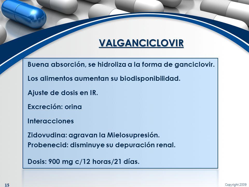 Copyright 2009 15 VALGANCICLOVIR Buena absorción, se hidroliza a la forma de ganciclovir. Los alimentos aumentan su biodisponibilidad. Ajuste de dosis