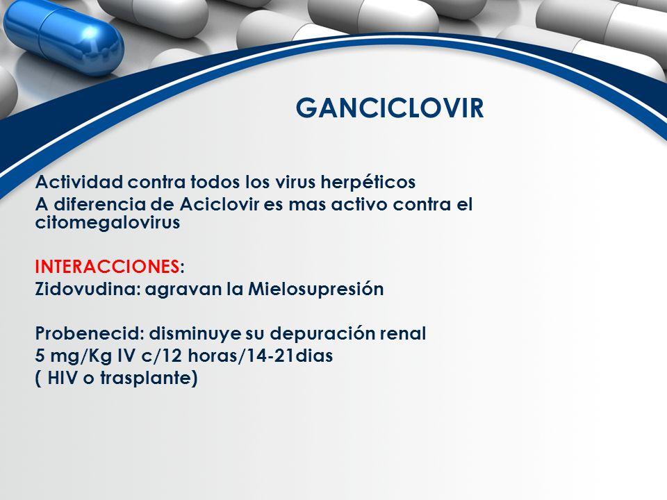 GANCICLOVIR Actividad contra todos los virus herpéticos A diferencia de Aciclovir es mas activo contra el citomegalovirus INTERACCIONES: Zidovudina: a