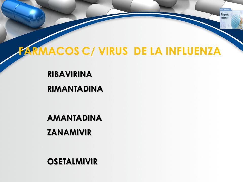 FARMACOS C/ VIRUS DE LA INFLUENZA RIBAVIRINARIMANTADINAAMANTADINAZANAMIVIROSETALMIVIR