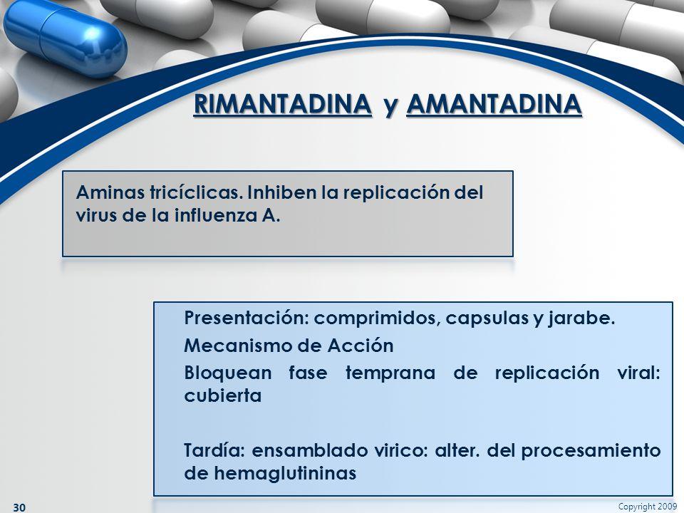 Copyright 2009 30 Aminas tricíclicas. Inhiben la replicación del virus de la influenza A. RIMANTADINA y AMANTADINA Presentación: comprimidos, capsulas
