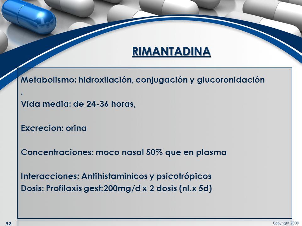 Copyright 2009 32 Metabolismo: hidroxilación, conjugación y glucoronidación. Vida media: de 24-36 horas, Excrecion: orina Concentraciones: moco nasal