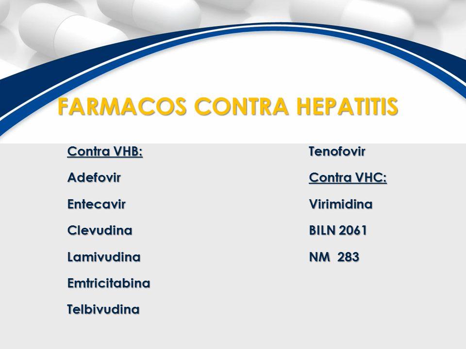 Contra VHB: AdefovirEntecavirClevudinaLamivudinaEmtricitabinaTelbivudinaTenofovir Contra VHC: Virimidina BILN 2061 NM 283 FARMACOS CONTRA HEPATITIS FA