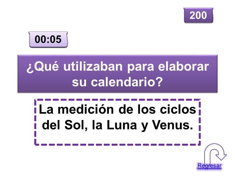¿Qué utilizaban para elaborar su calendario? La medición de los ciclos del Sol, la Luna y Venus. 200 00:00 00:01 00:02 00:03 00:04 00:05