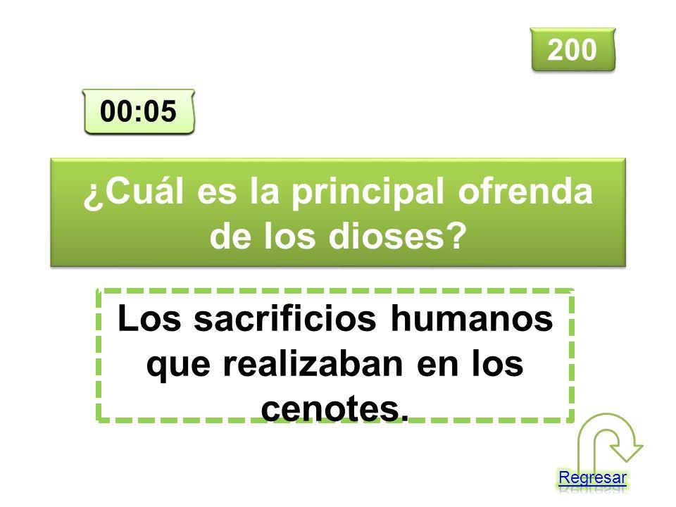¿Cuál es la principal ofrenda de los dioses? Los sacrificios humanos que realizaban en los cenotes. 200 00:00 00:01 00:02 00:03 00:04 00:05
