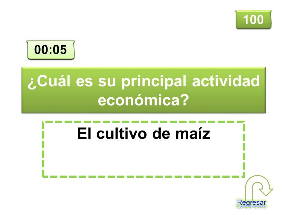 ¿Cuál es su principal actividad económica? El cultivo de maíz 100 00:00 00:01 00:02 00:03 00:04 00:05