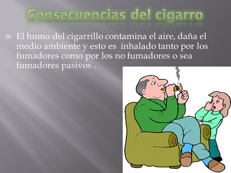 El humo del cigarrillo contamina el aire, daña el medio ambiente y esto es inhalado tanto por los fumadores como por los no fumadores o sea fumadores