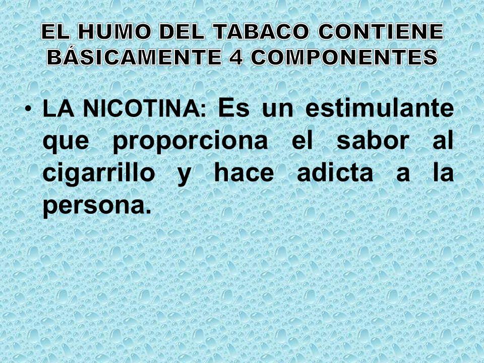 LA NICOTINA: Es un estimulante que proporciona el sabor al cigarrillo y hace adicta a la persona.
