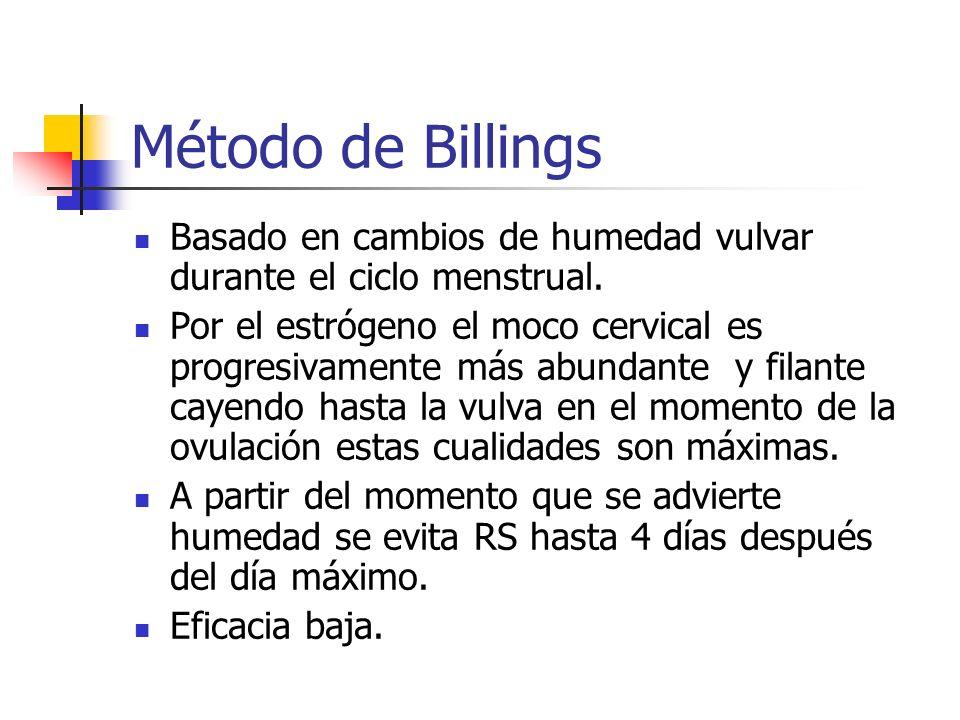 Método de Billings Basado en cambios de humedad vulvar durante el ciclo menstrual. Por el estrógeno el moco cervical es progresivamente más abundante