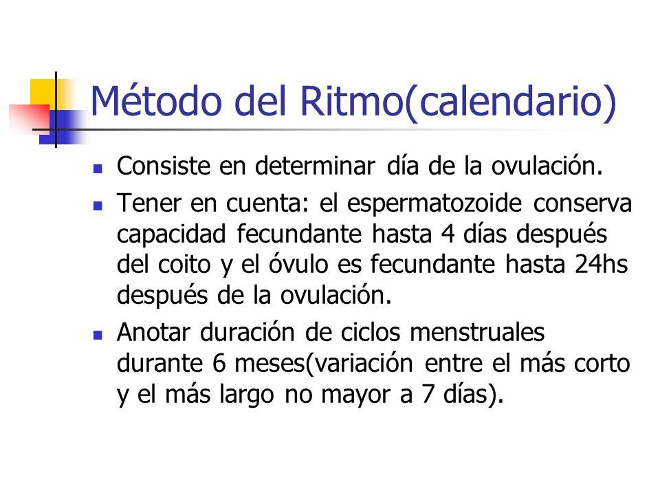 Método del Ritmo(calendario) Consiste en determinar día de la ovulación. Tener en cuenta: el espermatozoide conserva capacidad fecundante hasta 4 días