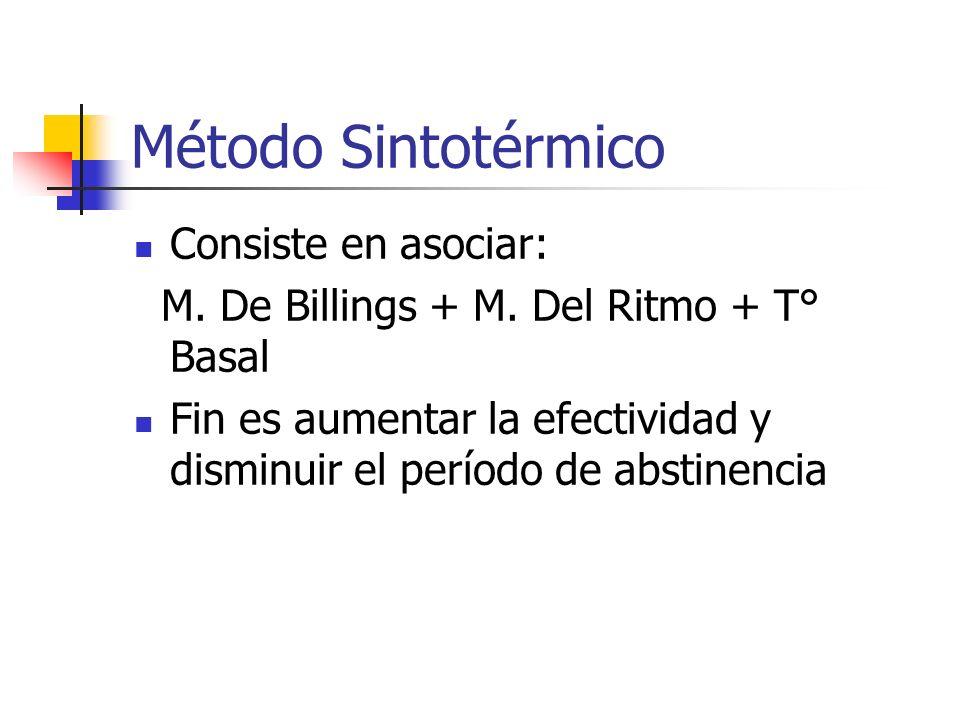 Método Sintotérmico Consiste en asociar: M. De Billings + M. Del Ritmo + T° Basal Fin es aumentar la efectividad y disminuir el período de abstinencia