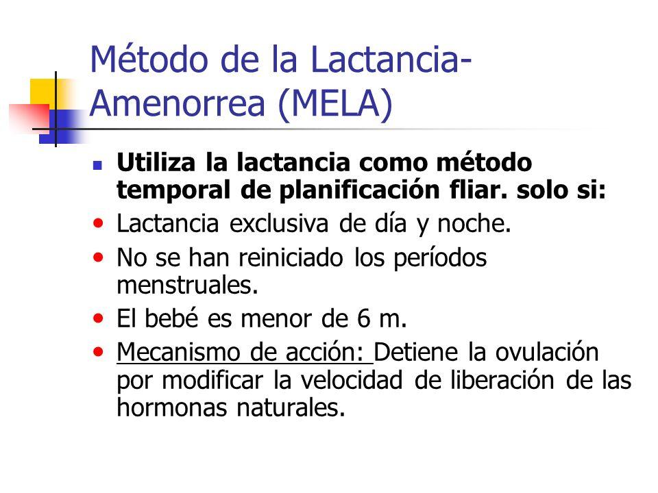 Método de la Lactancia- Amenorrea (MELA) Utiliza la lactancia como método temporal de planificación fliar. solo si: Lactancia exclusiva de día y noche