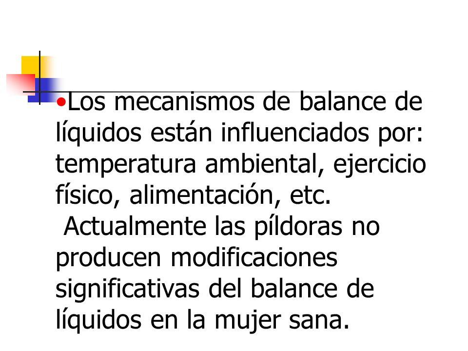 Los mecanismos de balance de líquidos están influenciados por: temperatura ambiental, ejercicio físico, alimentación, etc. Actualmente las píldoras no