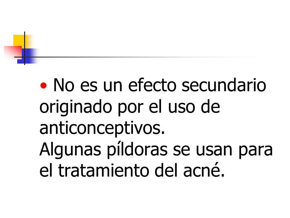 No es un efecto secundario originado por el uso de anticonceptivos. Algunas píldoras se usan para el tratamiento del acné.