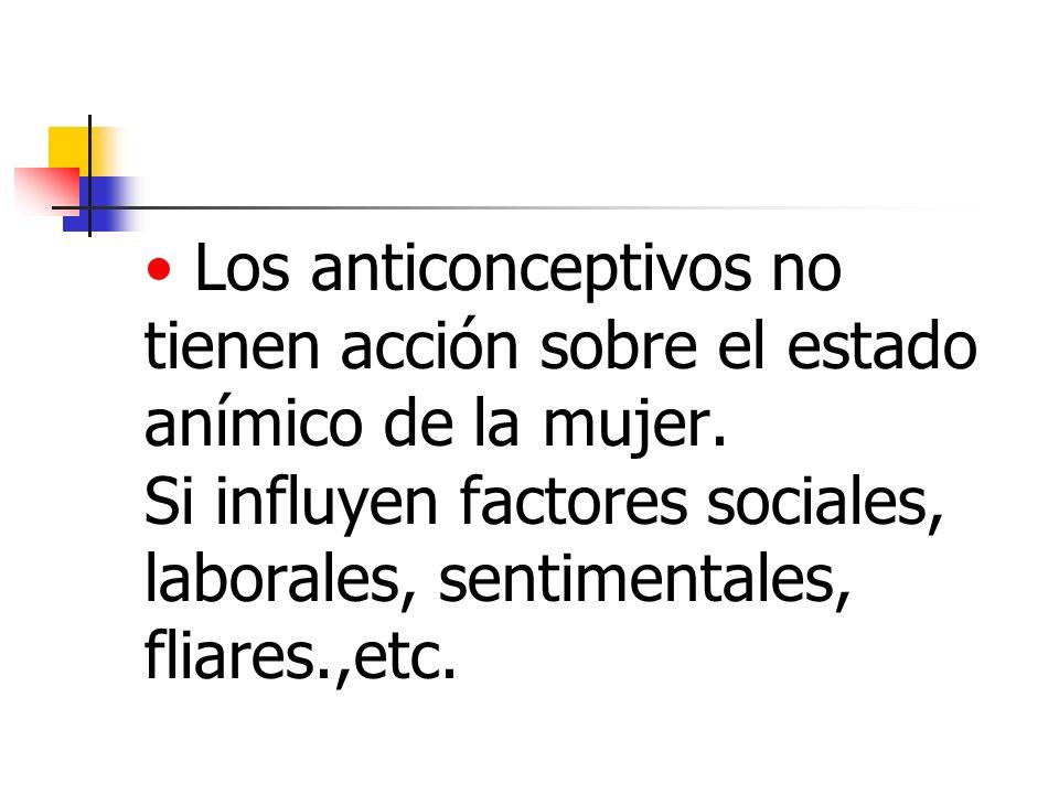 Los anticonceptivos no tienen acción sobre el estado anímico de la mujer. Si influyen factores sociales, laborales, sentimentales, fliares.,etc.