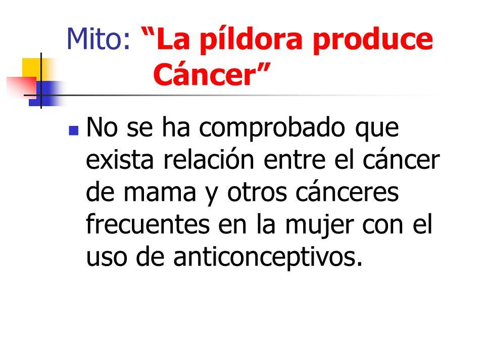 Mito: La píldora produce Cáncer No se ha comprobado que exista relación entre el cáncer de mama y otros cánceres frecuentes en la mujer con el uso de