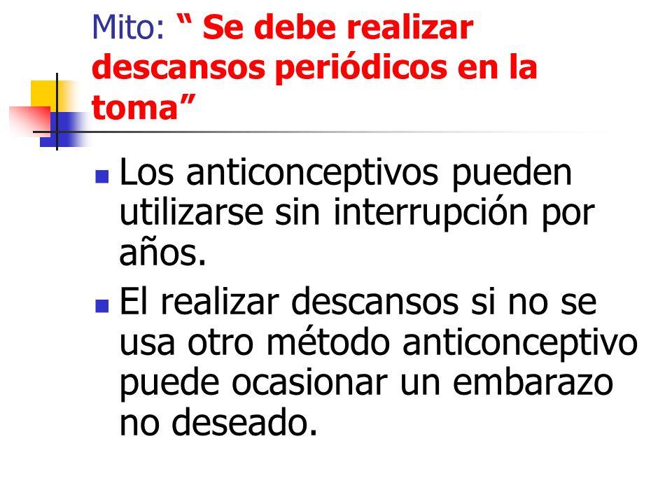Mito: Se debe realizar descansos periódicos en la toma Los anticonceptivos pueden utilizarse sin interrupción por años. El realizar descansos si no se