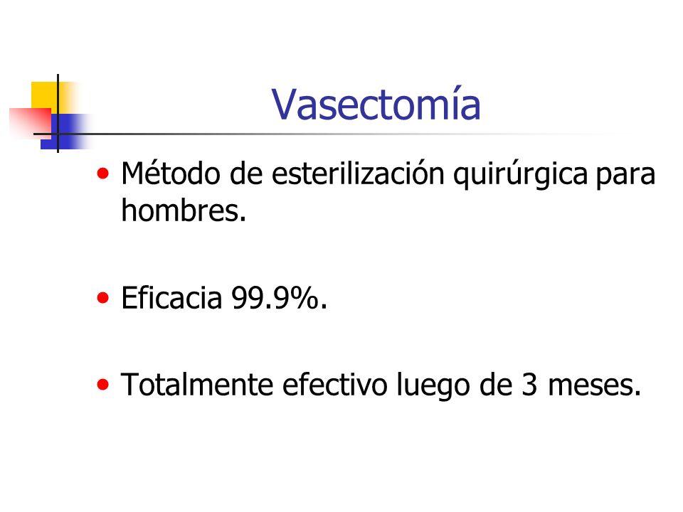 Vasectomía Método de esterilización quirúrgica para hombres. Eficacia 99.9%. Totalmente efectivo luego de 3 meses.