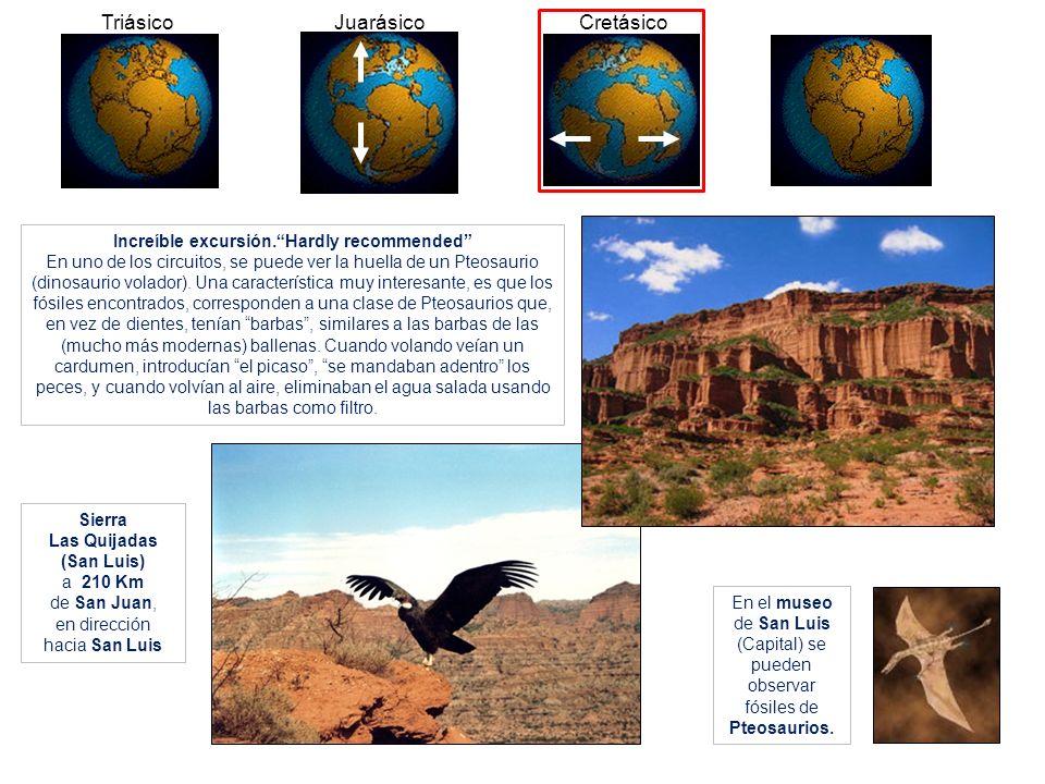 Sierra Las Quijadas (San Luis) a 210 Km de San Juan, en dirección hacia San Luis En el museo de San Luis (Capital) se pueden observar fósiles de Pteos