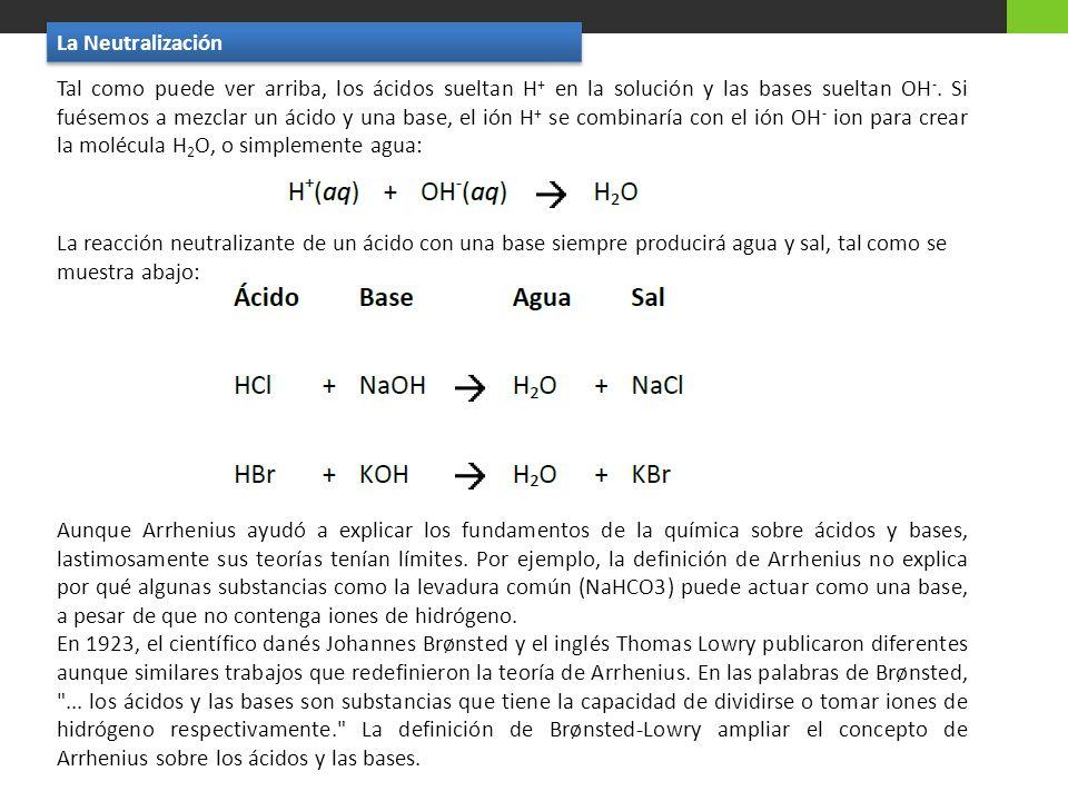 Tal como puede ver arriba, los ácidos sueltan H + en la solución y las bases sueltan OH -. Si fuésemos a mezclar un ácido y una base, el ión H + se co