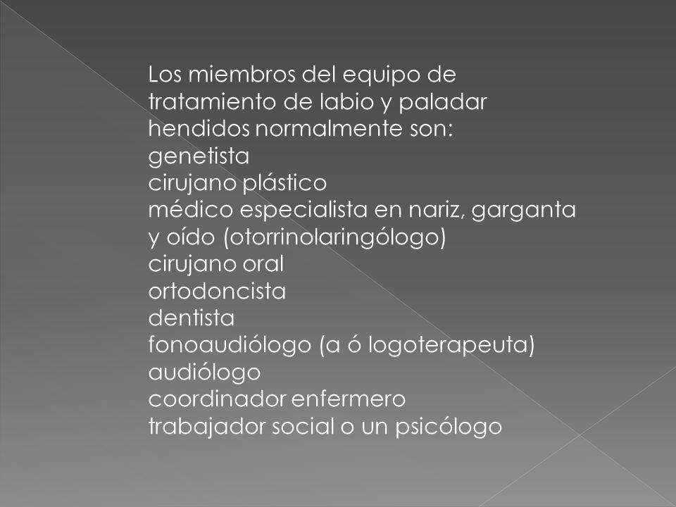 Los miembros del equipo de tratamiento de labio y paladar hendidos normalmente son: genetista cirujano plástico médico especialista en nariz, garganta