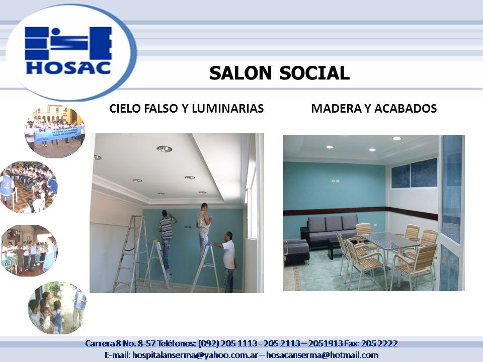 CIELO FALSO Y LUMINARIASMADERA Y ACABADOS SALON SOCIAL