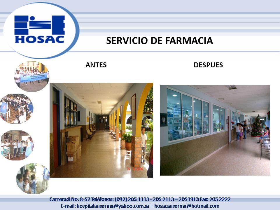SERVICIO DE FARMACIA ANTESDESPUES