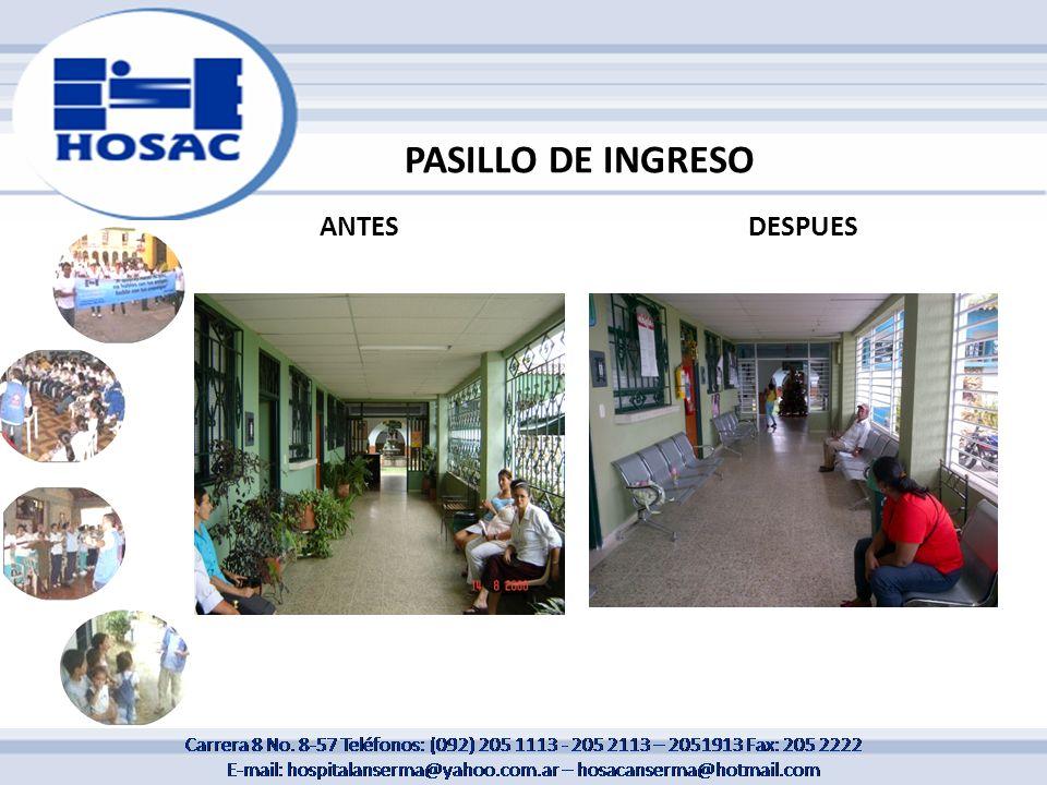 PASILLO DE INGRESO ANTESDESPUES