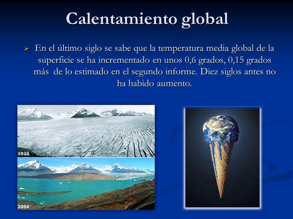 Calentamiento global En el último siglo se sabe que la temperatura media global de la superficie se ha incrementado en unos 0,6 grados, 0,15 grados má