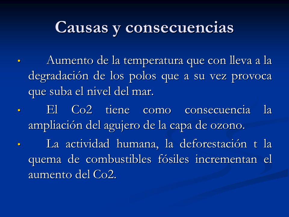 Causas y consecuencias Aumento de la temperatura que con lleva a la degradación de los polos que a su vez provoca que suba el nivel del mar. Aumento d