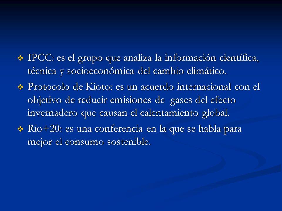 IPCC: es el grupo que analiza la información científica, técnica y socioeconómica del cambio climático. IPCC: es el grupo que analiza la información c