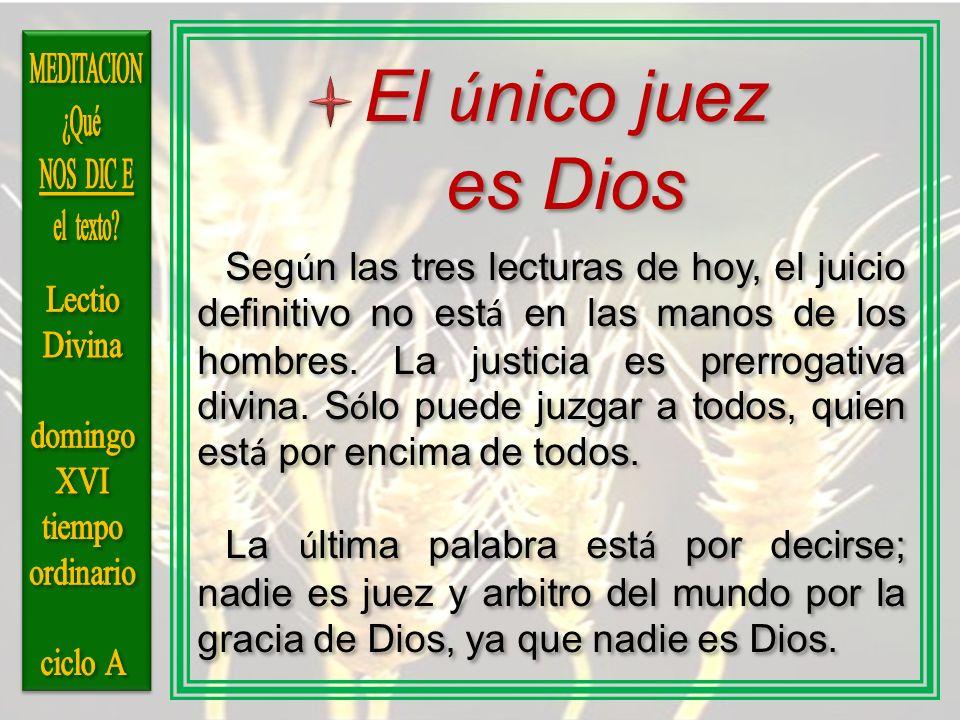 El ú nico juez es Dios Seg ú n las tres lecturas de hoy, el juicio definitivo no est á en las manos de los hombres. La justicia es prerrogativa divina