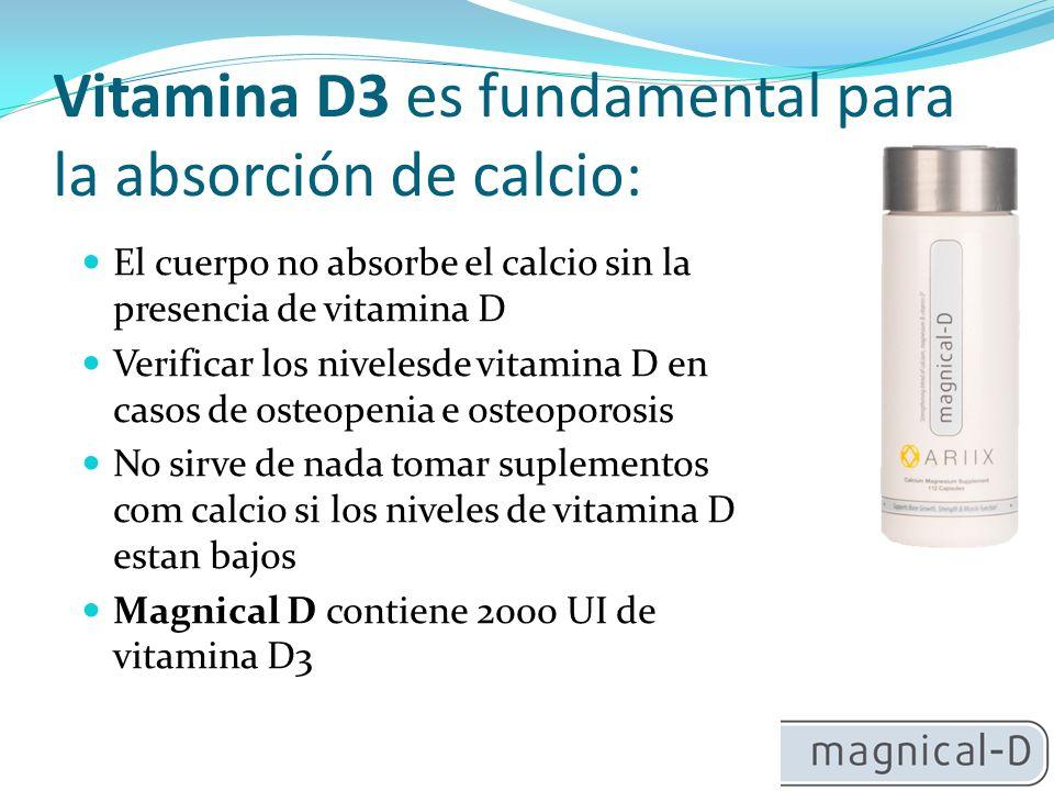 Vitamina D3 es fundamental para la absorción de calcio: El cuerpo no absorbe el calcio sin la presencia de vitamina D Verificar los nivelesde vitamina D en casos de osteopenia e osteoporosis No sirve de nada tomar suplementos com calcio si los niveles de vitamina D estan bajos Magnical D contiene 2000 UI de vitamina D3