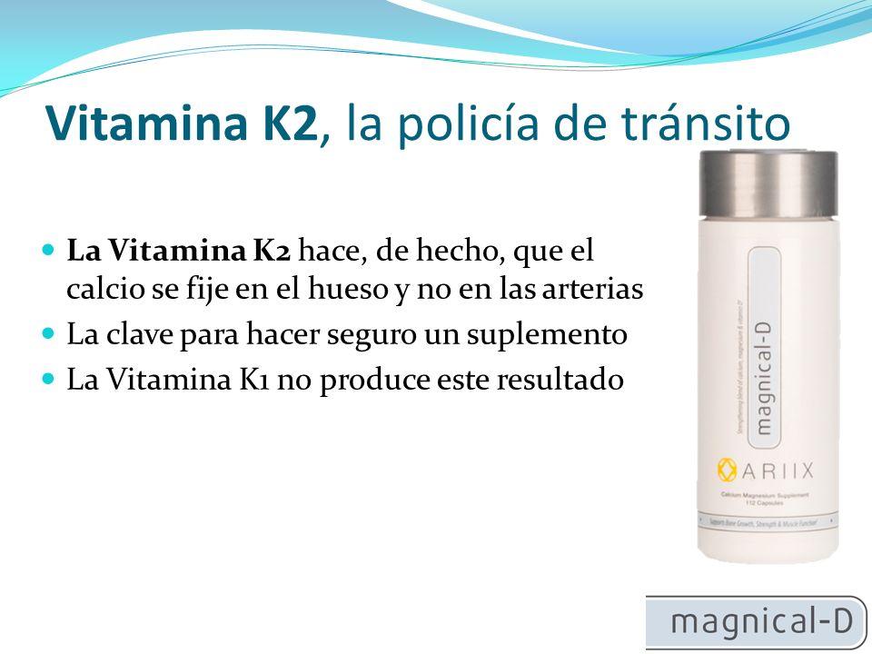 Vitamina K2, la policía de tránsito La Vitamina K2 hace, de hecho, que el calcio se fije en el hueso y no en las arterias La clave para hacer seguro un suplemento La Vitamina K1 no produce este resultado