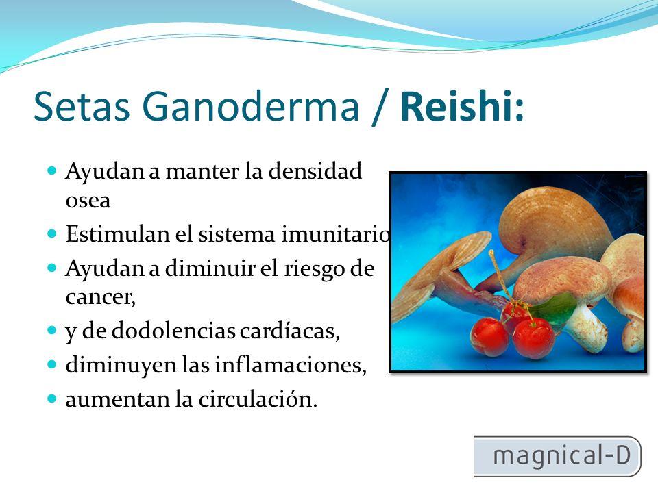 Setas Ganoderma / Reishi: Ayudan a manter la densidad osea Estimulan el sistema imunitario Ayudan a diminuir el riesgo de cancer, y de dodolencias cardíacas, diminuyen las inflamaciones, aumentan la circulación.