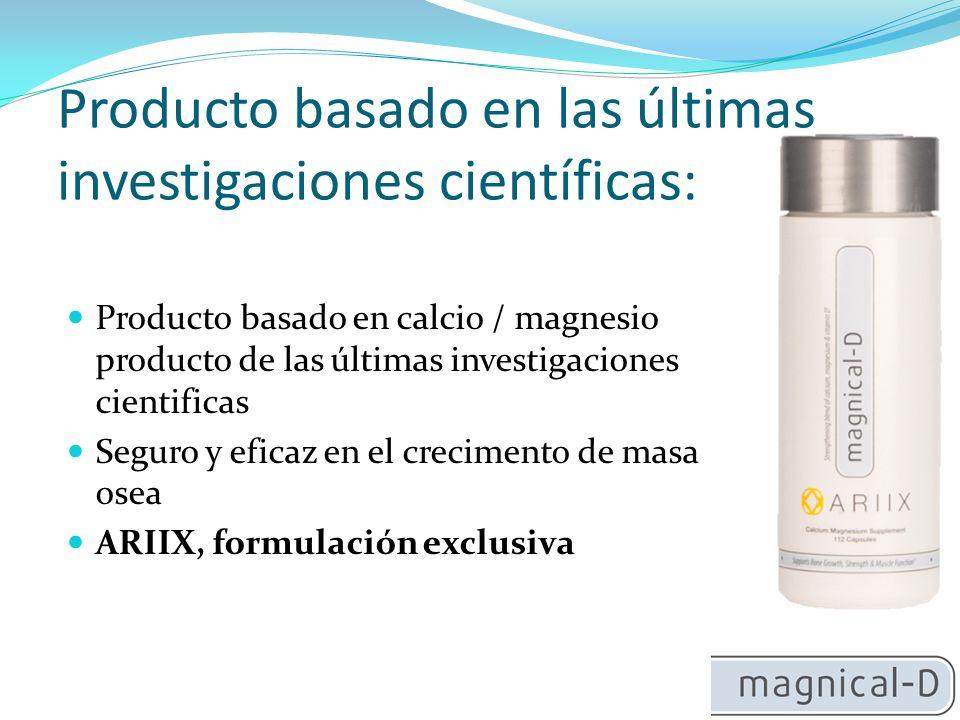 Producto basado en las últimas investigaciones científicas: Producto basado en calcio / magnesio producto de las últimas investigaciones cientificas Seguro y eficaz en el crecimento de masa osea ARIIX, formulación exclusiva