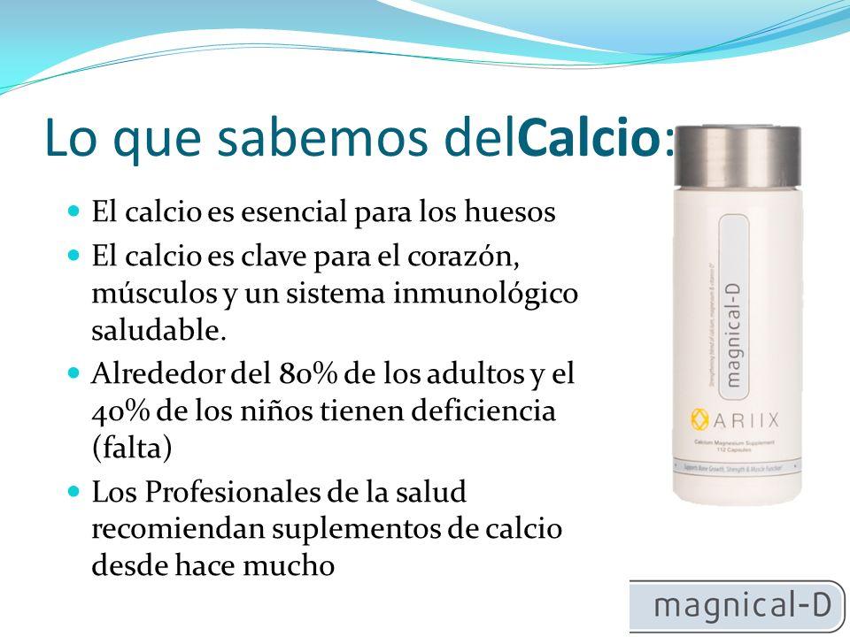 Lo que sabemos delCalcio: El calcio es esencial para los huesos El calcio es clave para el corazón, músculos y un sistema inmunológico saludable.