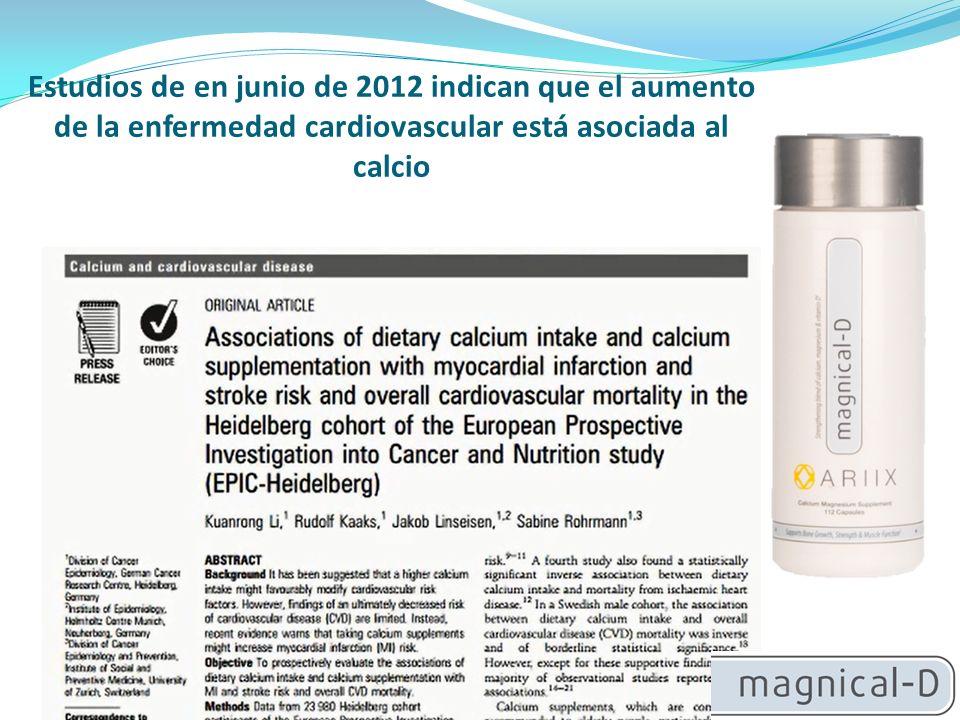 Estudios de en junio de 2012 indican que el aumento de la enfermedad cardiovascular está asociada al calcio