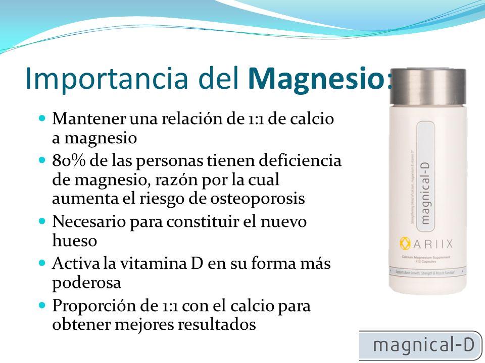 Precauciones: 1- Contiene carbonato de calcio 2 - Contiene oxido de magnesio 3 -Tiene una relación de 1:1 4 - Tiene vitamina D3 5 - Tiene vitamina K2
