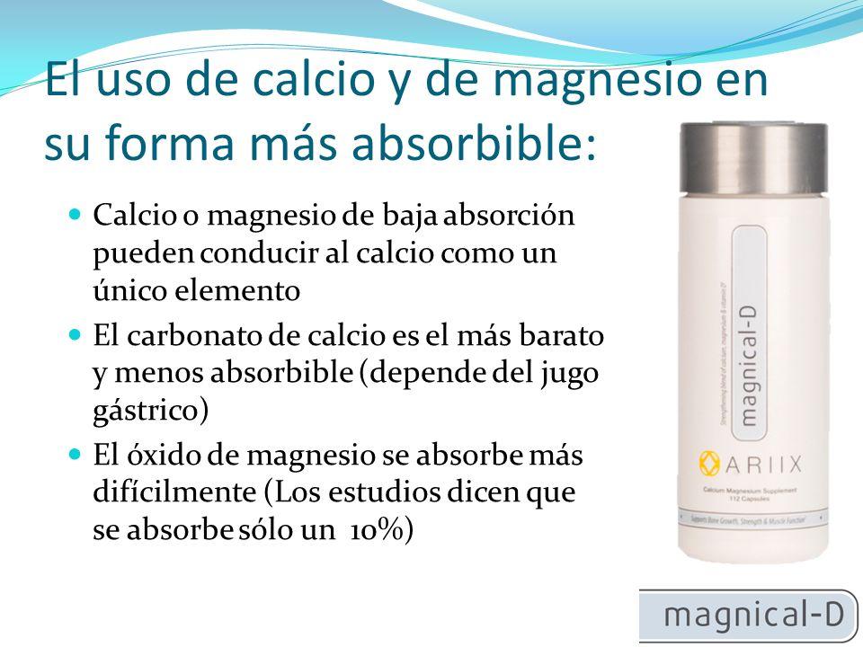 El uso de calcio y de magnesio en su forma más absorbible: Calcio o magnesio de baja absorción pueden conducir al calcio como un único elemento El carbonato de calcio es el más barato y menos absorbible (depende del jugo gástrico) El óxido de magnesio se absorbe más difícilmente (Los estudios dicen que se absorbe sólo un 10%)