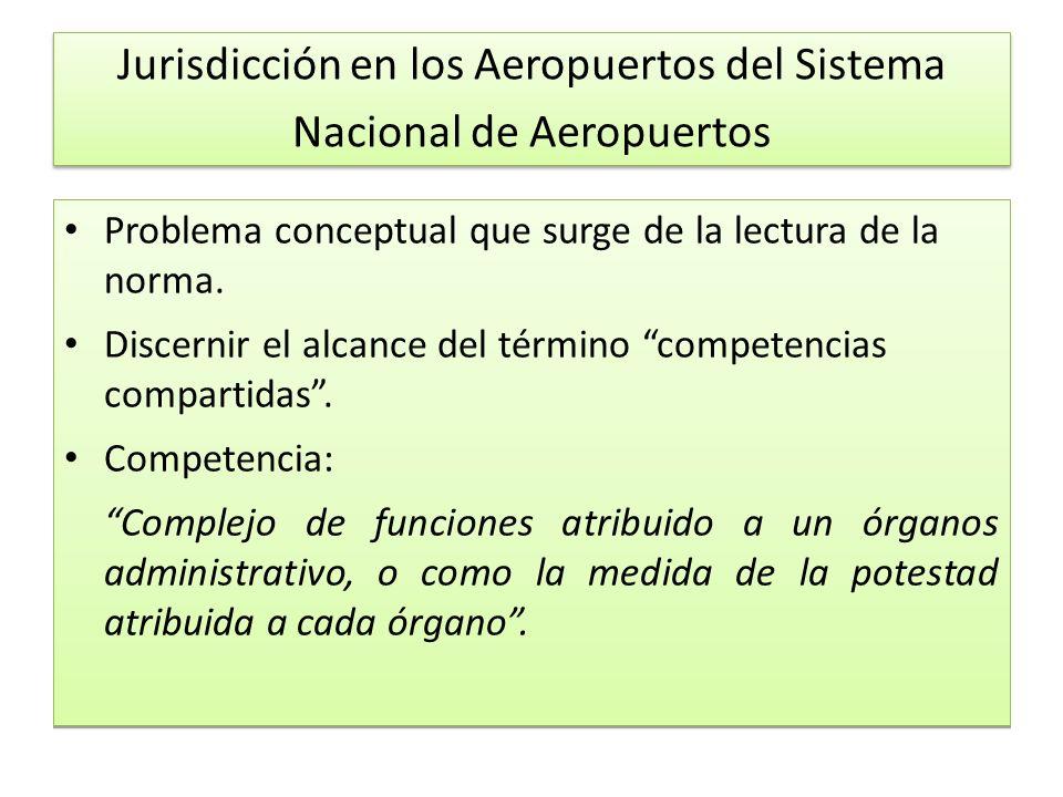 Jurisdicción en los Aeropuertos del Sistema Nacional de Aeropuertos Problema conceptual que surge de la lectura de la norma.
