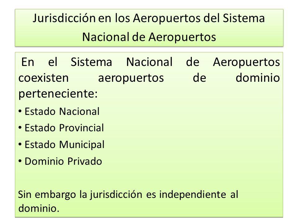 Jurisdicción en los Aeropuertos del Sistema Nacional de Aeropuertos En el Sistema Nacional de Aeropuertos coexisten aeropuertos de dominio perteneciente: Estado Nacional Estado Provincial Estado Municipal Dominio Privado Sin embargo la jurisdicción es independiente al dominio.