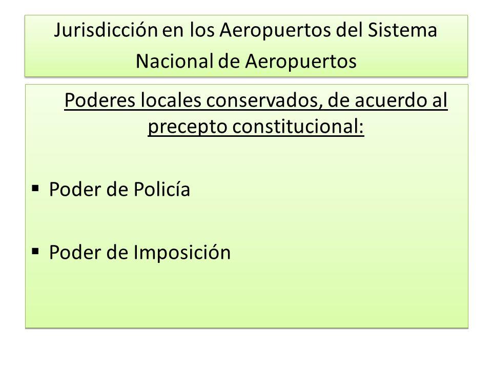 Jurisdicción en los Aeropuertos del Sistema Nacional de Aeropuertos Poderes locales conservados, de acuerdo al precepto constitucional: Poder de Policía Poder de Imposición Poderes locales conservados, de acuerdo al precepto constitucional: Poder de Policía Poder de Imposición