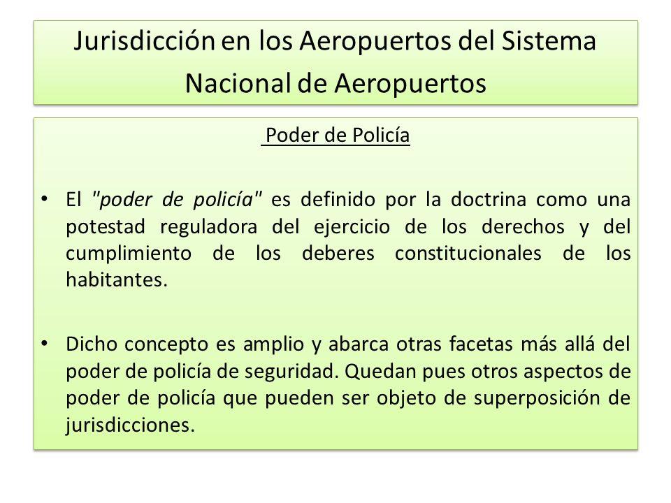 Jurisdicción en los Aeropuertos del Sistema Nacional de Aeropuertos Poder de Policía El poder de policía es definido por la doctrina como una potestad reguladora del ejercicio de los derechos y del cumplimiento de los deberes constitucionales de los habitantes.