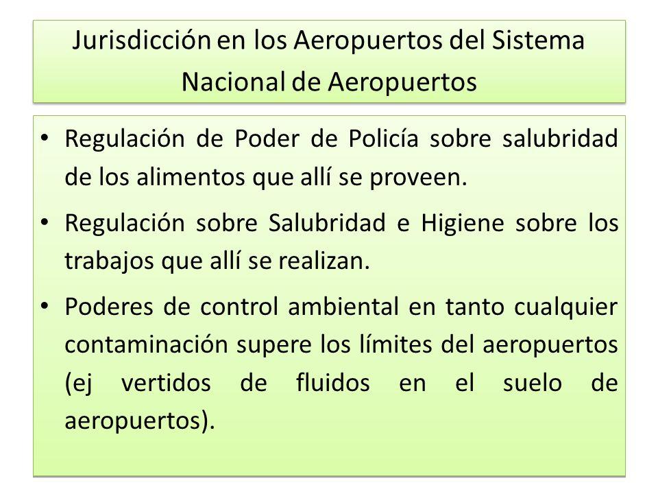 Jurisdicción en los Aeropuertos del Sistema Nacional de Aeropuertos Regulación de Poder de Policía sobre salubridad de los alimentos que allí se proveen.